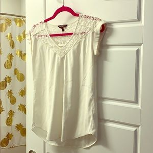 Express White Lace Silk Top